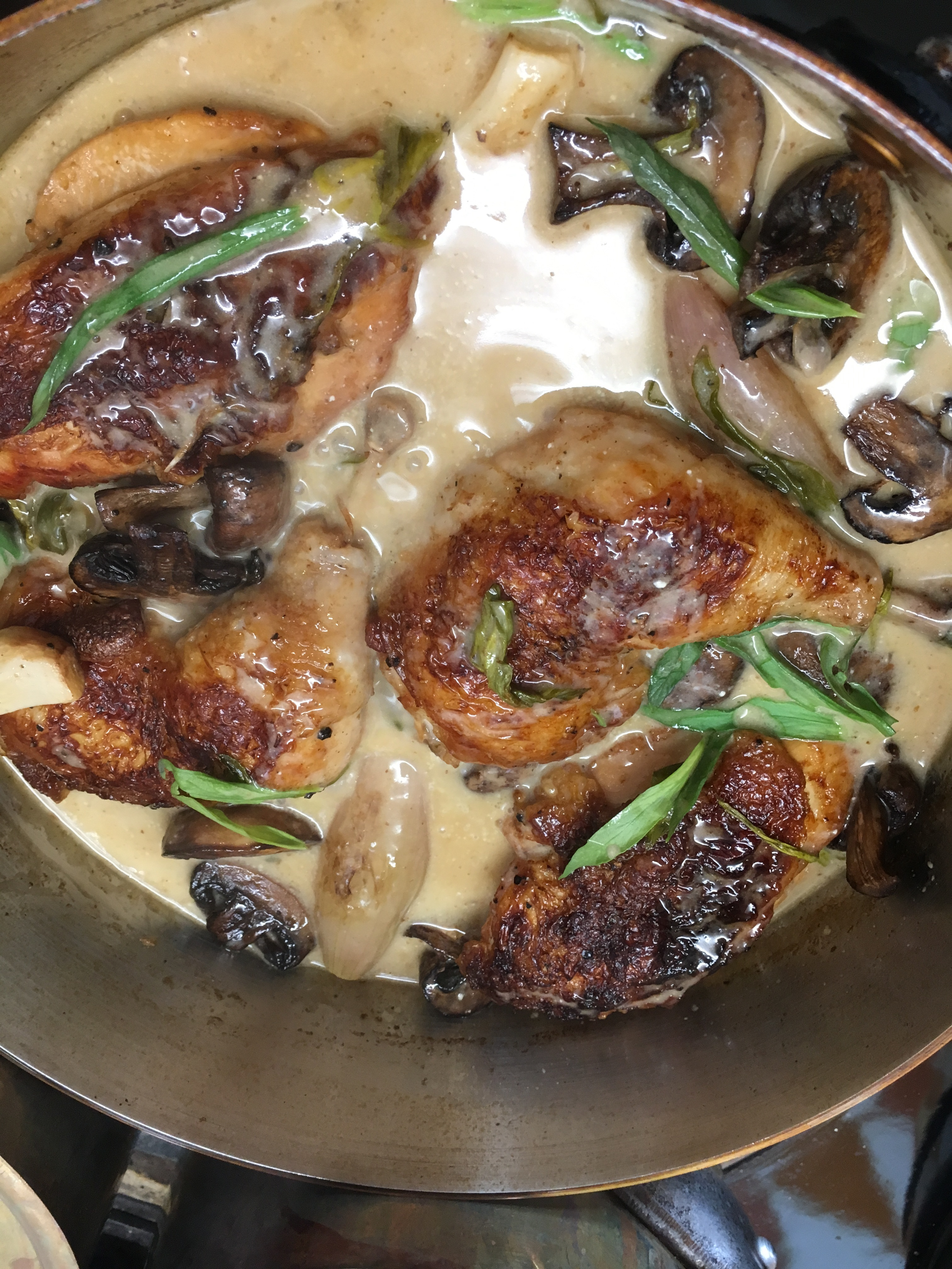 Cider Chicken with Mushrooms and Tarragon
