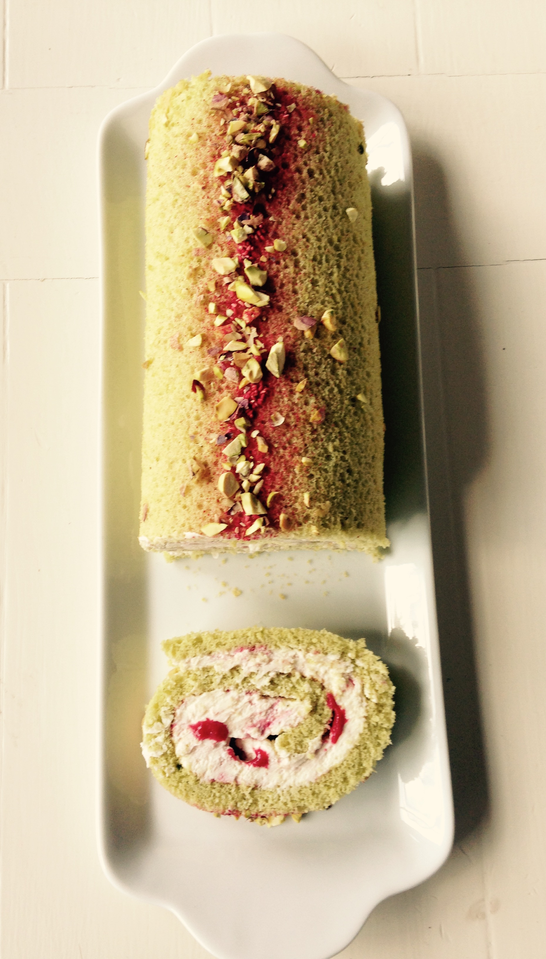 Pistachio and Raspberry Ripple Swiss Roll