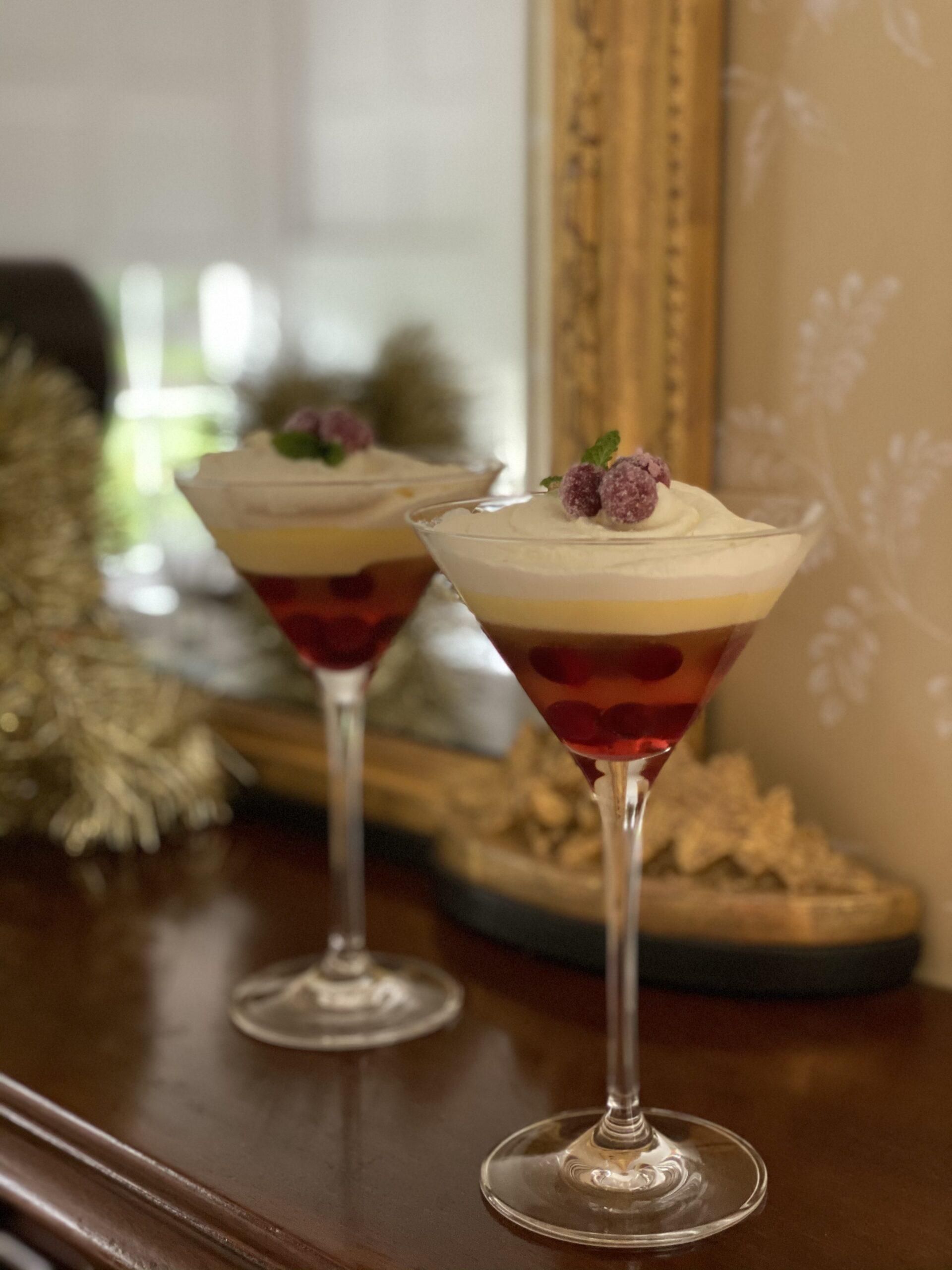 Cranberry and Elder-Fizz Trifles